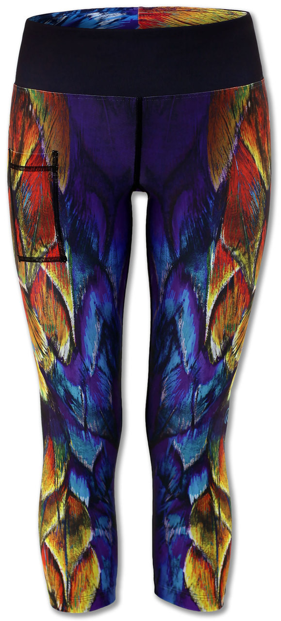 INKnBURN Painted Feather Capris Front