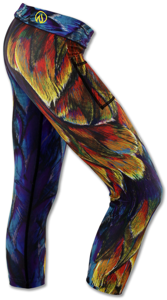 INKnBURN Painted Feather Capris Right Side Waistband Folded Down