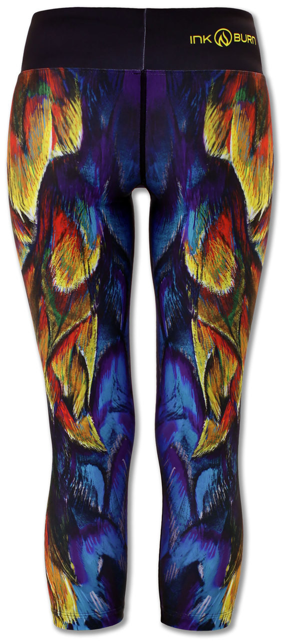 INKnBURN Painted Feather Capris Back