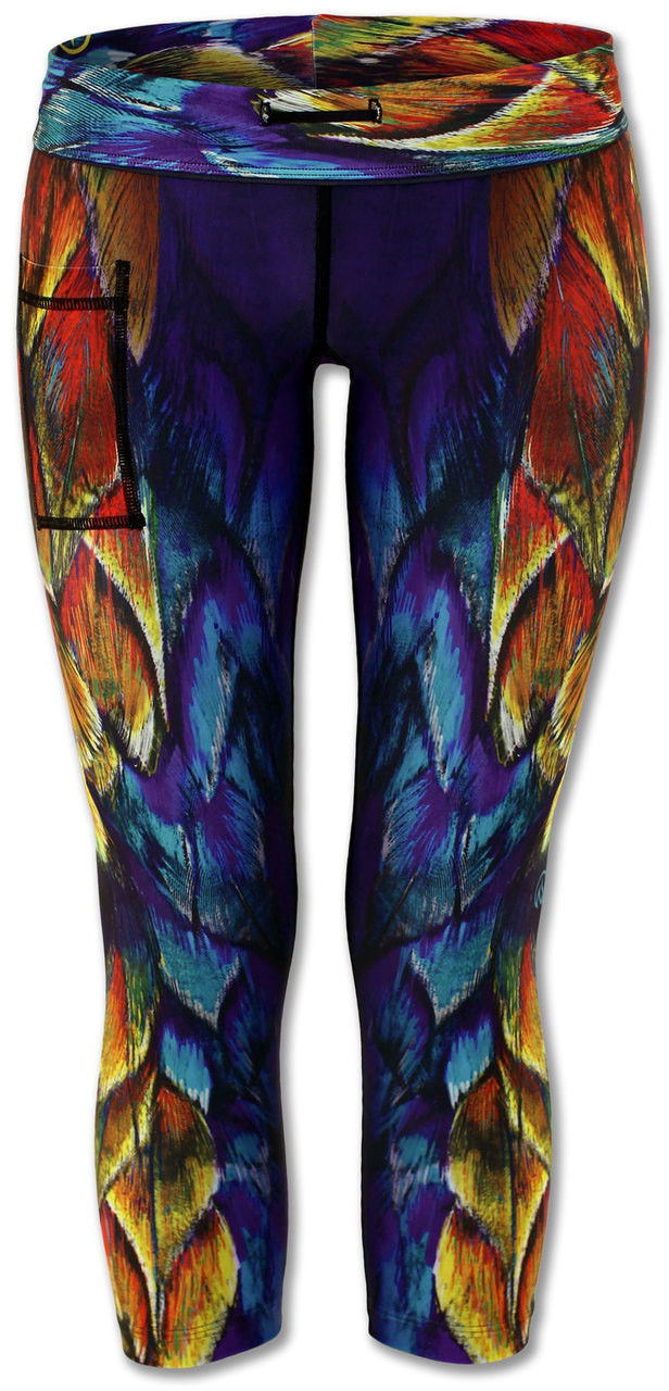 INKnBURN Painted Feather Capris Front Waistband Folded Down