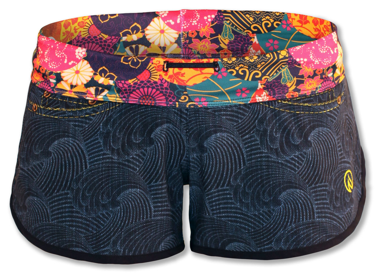 INKnBURN Women's Wave Denim Shorts Front Waistband Folded Down