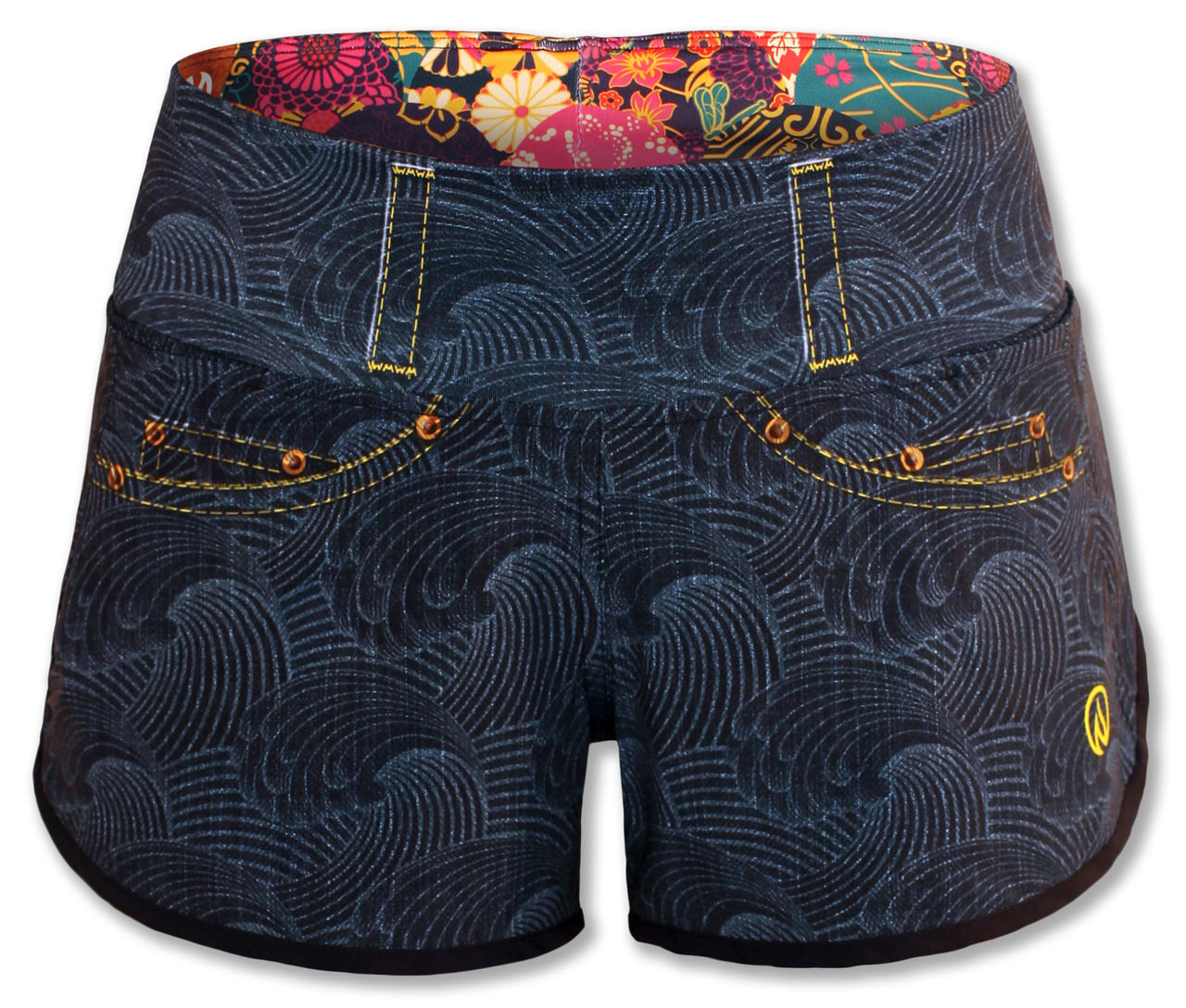INKnBURN Women's Wave Denim Shorts Front