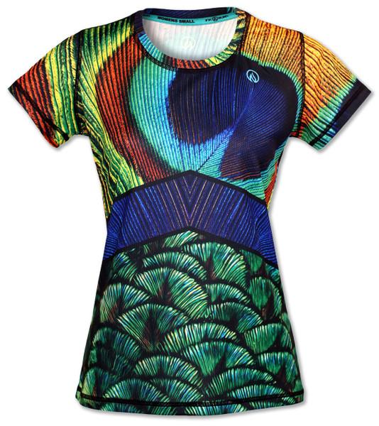 INKnBURN Women's Peacock Tech Shirt Front