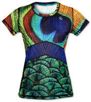 INKnBURN Women's Peacock Tech Shirt Front