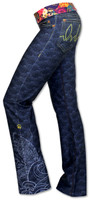 INKnBURN Women's Koi Performance Denim Pants Waistband folded down