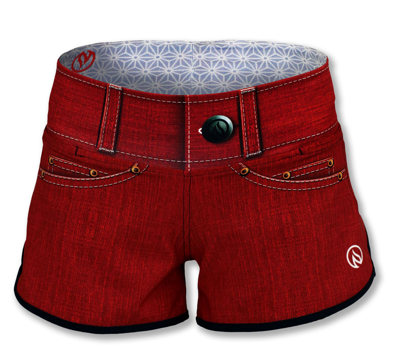 INKnBURN Women's Red Denim Shorts Front