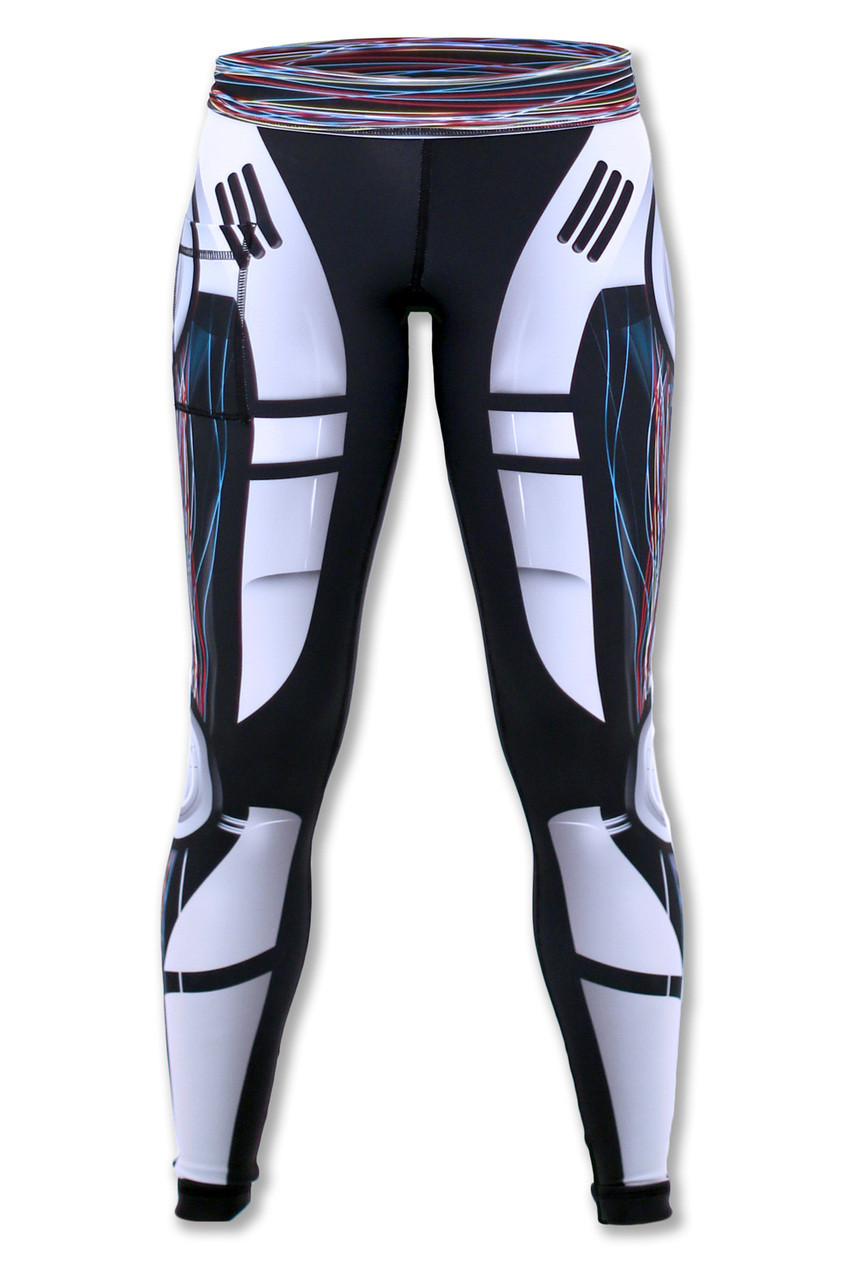 Women's Robot Tights front Waistband Down