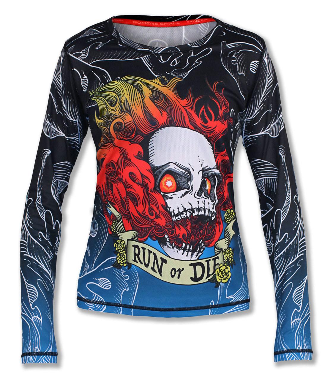 INKnBURN Women's Run or Die Fire Skull Long Sleeve Tech Shirt Front