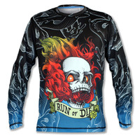 Men's Run or Die Fire Skull Long Sleeve Tech Shirt