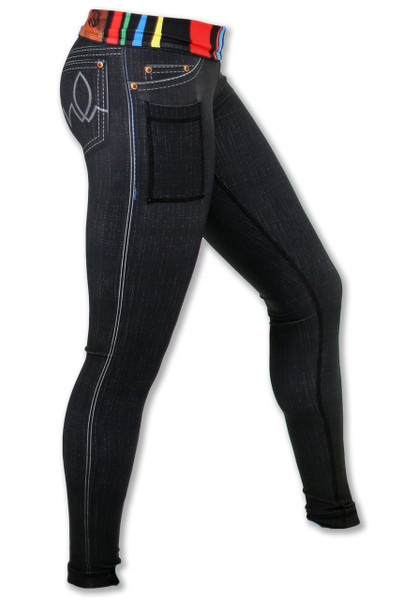 Women's Black Denim Tights Side View