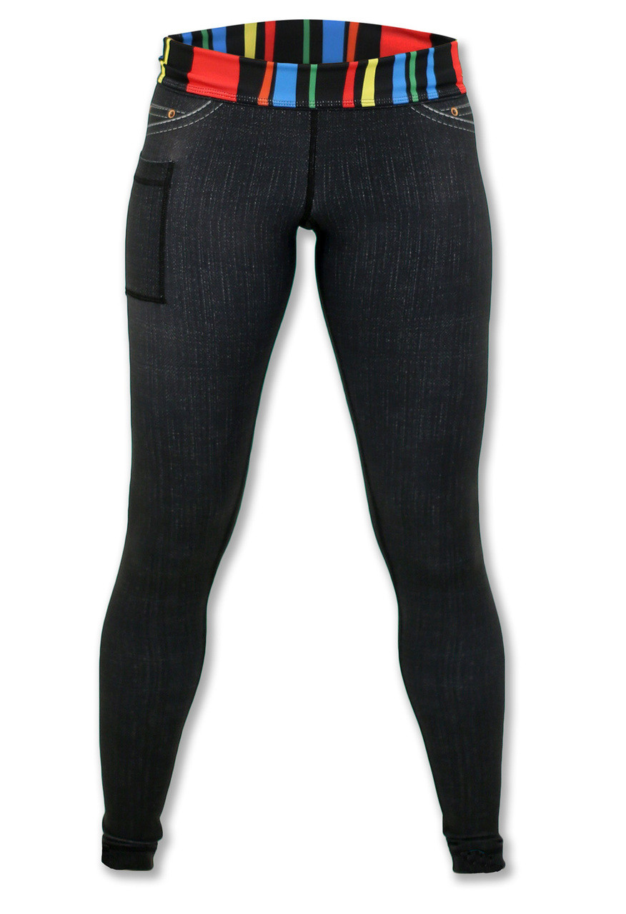 Women's Black Denim Tights Front View