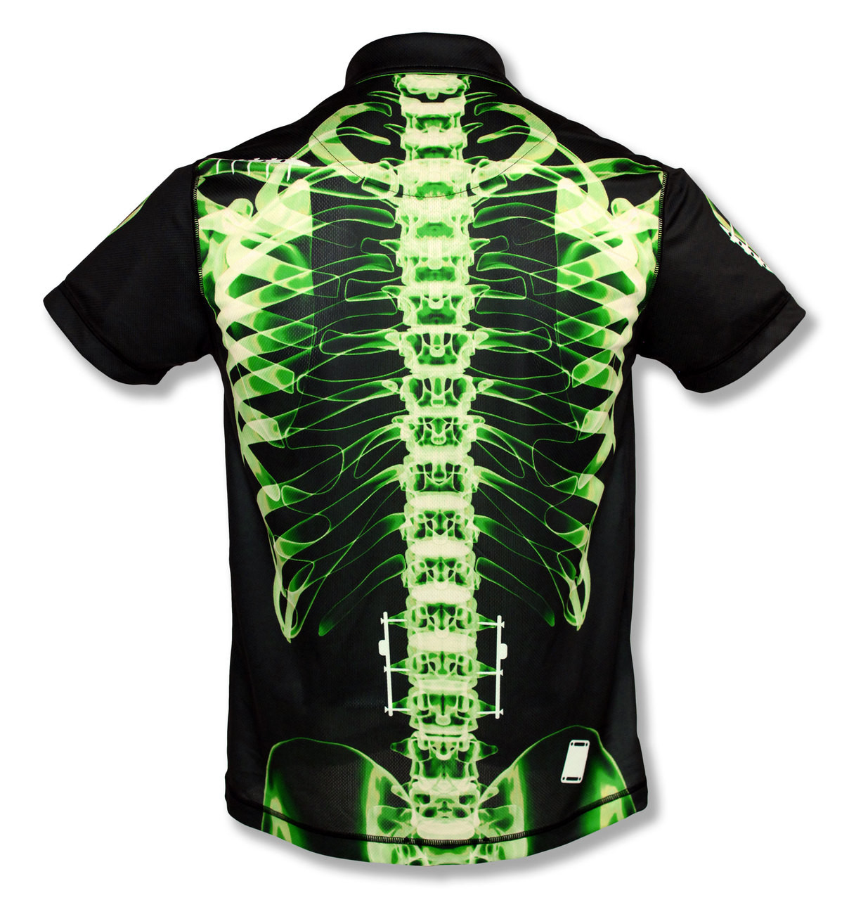INKnBURN Men's Green X-Ray Polo Shirt Back