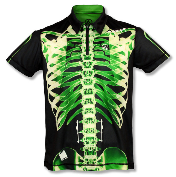 INKnBURN Men's Green X-Ray Polo Shirt Front