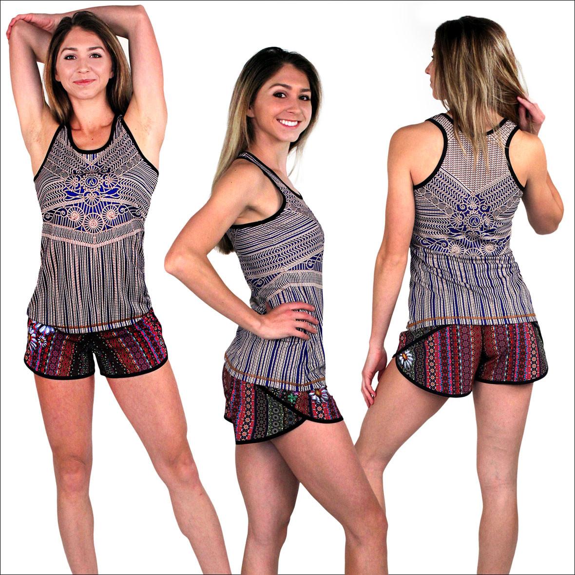 INKnBURN Women's Macrame Singlet and Boho Daisy Shorts