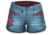 Women' Rose Denim Shorts Front
