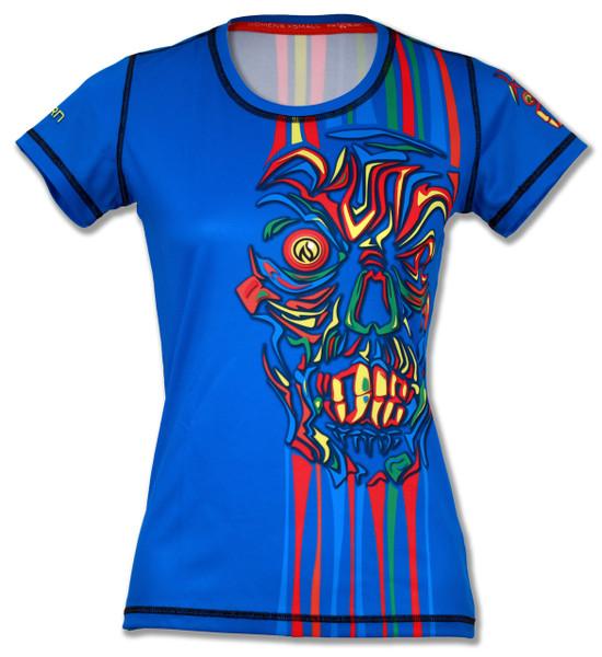 Women's Short Sleeve Running Shirt Run or Die Stripes by INKnBURN - Front