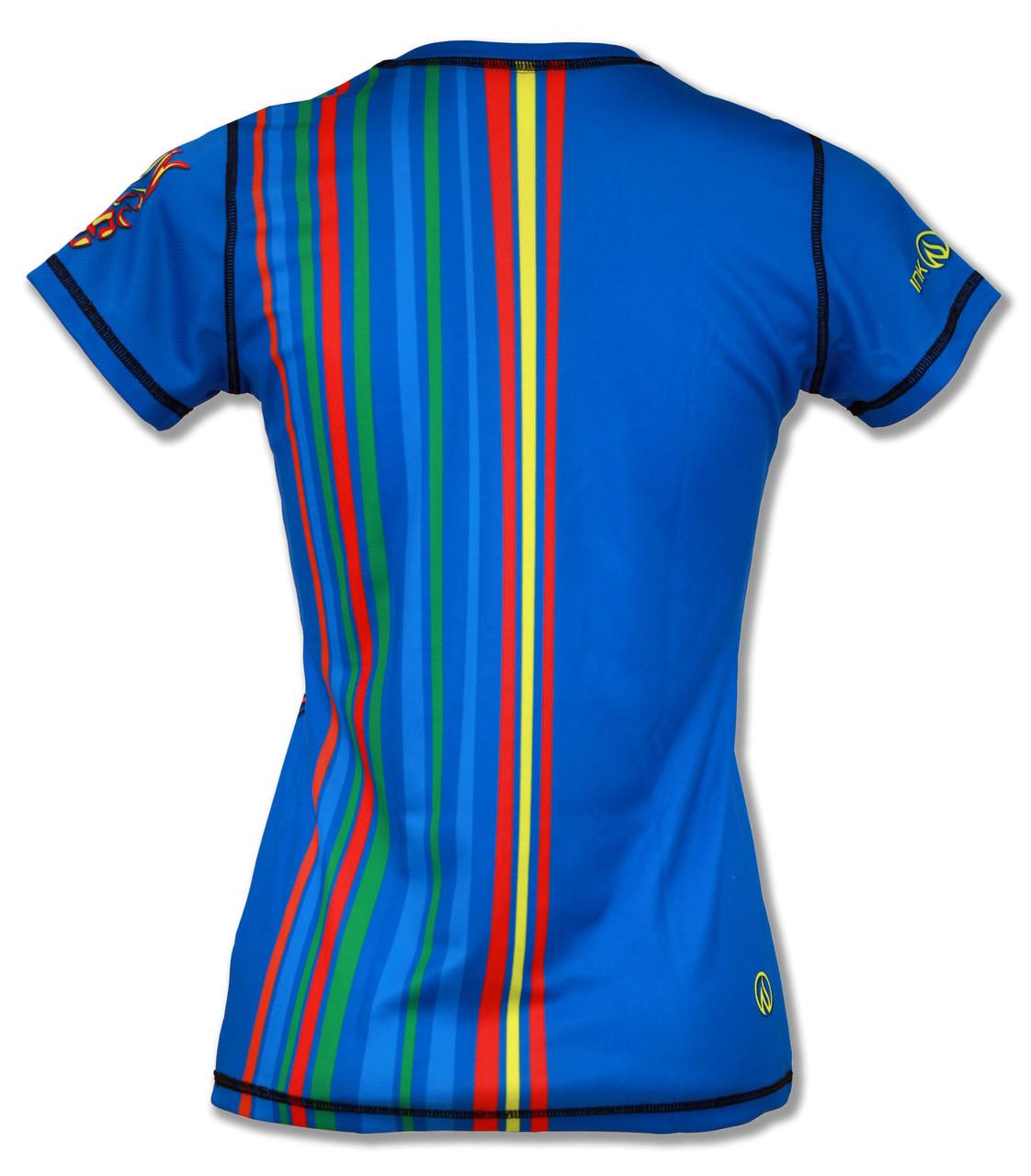 Short Sleeve Running Shirt Run or Die Stripes by INKnBURN - Back