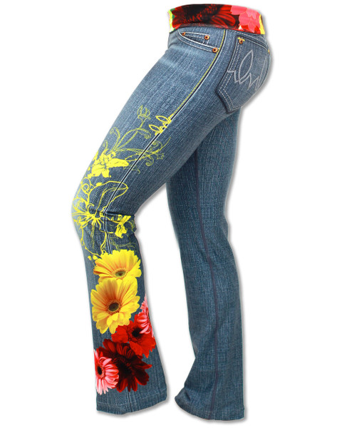 INKnBURN Women's Wildflower Running, Yoga and Workout Pants Side with Waistband folded down.