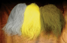 Icelandic Sheep Streamer Hair- Silver Grey, Yellow, Lt. Olive