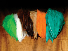 Dyed Over White Strung Saddle Hackle 5-7""