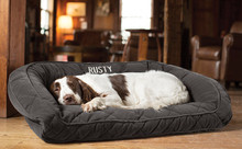 Orvis Deep Dish Dog Bed with Quilted Sleep Surface- Slate
