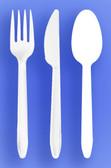 MEDIUM WEIGHT SPOON, FORK, KNIFE - WHITE - 3/1000 (3,000/case)