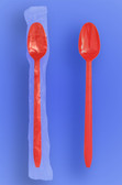 "Wrapped 8"" Long Red Soda Spoons"