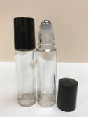 10ml (1/3 oz) Clear Rollon Bottle With Stainless Steel Roller & Color Caps