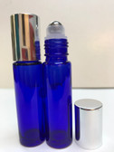 10ml (1/3 oz) Cobalt Blue Rollon Bottle With Stainless Steel Roller and Aluminum Silver Caps