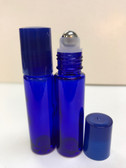 10ml (1/3 oz) Cobalt Blue Rollon Bottle With Stainless Steel Roller and Color Caps
