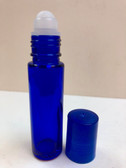 10ml (1/3 oz) Cobalt Blue Rollon Bottle With Plastic Roller & Blue Caps
