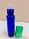 10ml (1/3 oz) Cobalt Blue Rollon Bottle With Plastic Roller & Green Caps