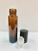 12 Pcs, 10ml [1/3 oz] AMBER Rollon Bottle with GLASS Roller & Plastic Black Caps
