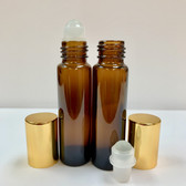 12 Pcs, 10ml [1/3 oz] AMBER Rollon Bottle with GLASS Roller & Aluminum Gold Caps