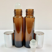 75 Pcs, 10ml [1/3 oz] AMBER Rollon Bottle with GLASS Roller & Aluminum Silver Caps