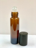 10ml [1/3 oz] AMBER Roll On Bottle with Color Cap GLASS Roller