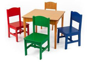 KidKraft Nantucket and 4 Primary Chairs