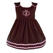 Princess Linens Bon Bon Chocolate Corduroy Dress with Pink Trim