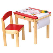 Guidecraft Art Table and Chair Set - Red