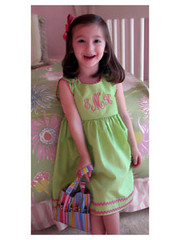 Princess Linens Garden Princess Dress in Green Hibiscus