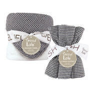 Trend Lab Black and White Gingham Seersucker Hooded Towel and Wash Cloth Set