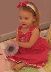 Princess Linens Garden Princess Dress in Camellia with Babies Breath Trim