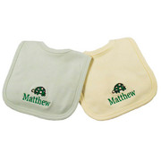 Princess Linens Personalized Sage/Yellow Turtle Bib Set