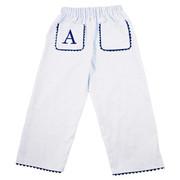 Princess Linens  Pique Pants-White/Navy