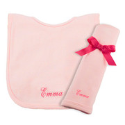 Princess Linens Personalized Pink Bib/Burp Set