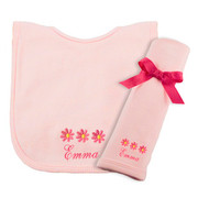 Princess Linens Personalized Pink Daisy Bib/Burp Set
