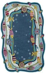 Kinderloom Fish Land Blue Area Rug 5' x 7'