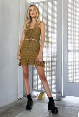 CALIstyle Golden Romance Skirt In Plaid Mustard