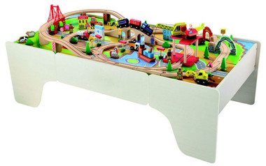 Bubbadoo wooden train table with 100pc train set for 100 piece cityscape train set and wooden activity table