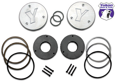 Yukon hardcore drive flange kit for Dana 44, 30 spline outer stubs. Yukon engraved caps.